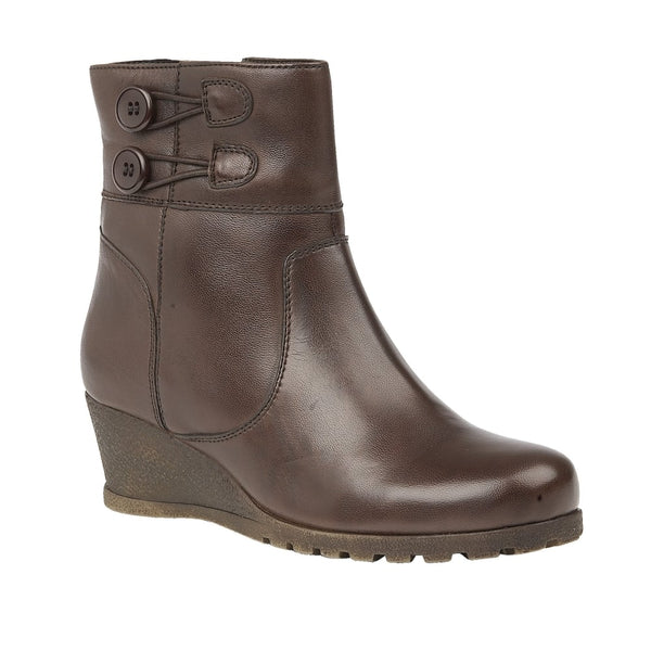 Lotus Bopty Brown Leather Wedge Ankle Boots