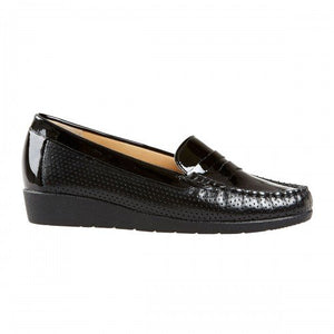 Van Dal Sheldon Black Patent Leather Loafer Shoes