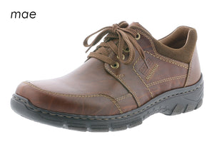 Rieker 19911-25 Mens Brown Leather Lace Up Casual Shoes