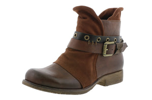 Rieker 90268-22 Ladies Brown Multi Buckle Ankle Boots