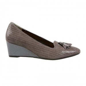 Van Dal Anderson Storm Grey Leather Wedge Shoes - elevate your sole