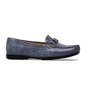 Van Dal Bliss Antique Blue Crackle Print Leather Loafer Shoes E - elevate your sole