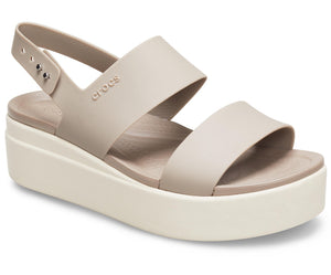 Crocs Brooklyn 206453 Ladies Mushroom / Stucco Low Wedge Sandal