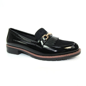 Lunar Ancora FLC248 Ladies Black Patent Fringe Loafer Shoes
