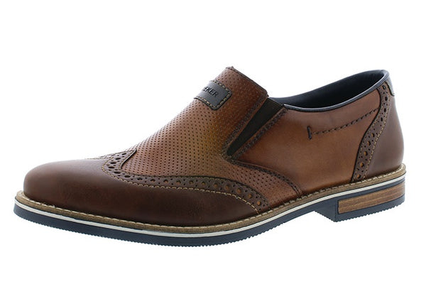 ac475868d94 Rieker 13560-25 Mens Wide Brown Leather Slip On Loafers