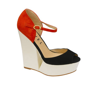 Size 6 Only - Ravel Lagoon Black & Orange Suede Wedges - elevate your sole