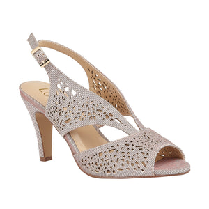 Lotus Amelia Ladies Pink Shimmer Textile Open Toe Court Shoes