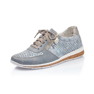 Rieker N5122-12 Light Blue Grey Lace Up Trainer Shoes