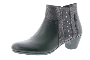 Rieker 70571-00 Black Leather Faux Fur Lined Ladies Ankle Boots