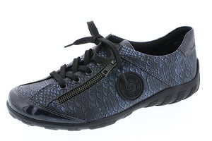 Remonte R3408-17 Blue Snake Print Leather Trainer Shoes - elevate your sole