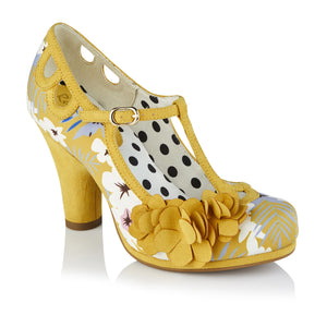Ruby Shoo Valerie Ladies Ochre Yellow Floral T-Bar Vegan Court Shoes