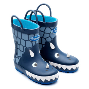 Chipmunk Trick Dinosaur Navy Wellies