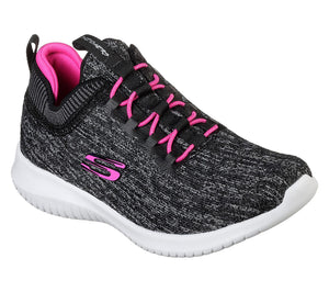 Skechers 81553L Ultra Flex Bright Horizon Girls Black/Pink Trainers - elevate your sole