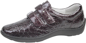 Waldlaufer 496301 Henni Burgundy Croc Print Hook and Loop Shoes H / E Fit - elevate your sole