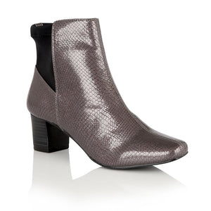 Lotus Swallow Graphite Grey Shiny Snake Heeled Boots - elevate your sole