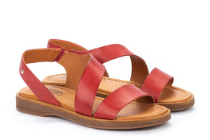 Pikolinos W4E-0834 Moraira Coral Red Leather Open Toe Sandals