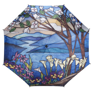 Galleria Landscape Stained Glass Folding Umbrella