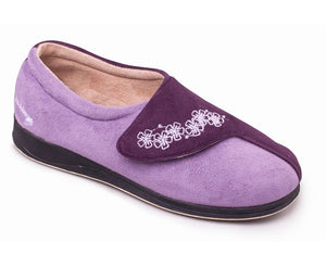 Padders Hug Purple Ladies Wider Fitting Slippers - elevate your sole