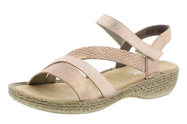 Rieker 65856-90 Ladies Rose Gold Summer Sandals