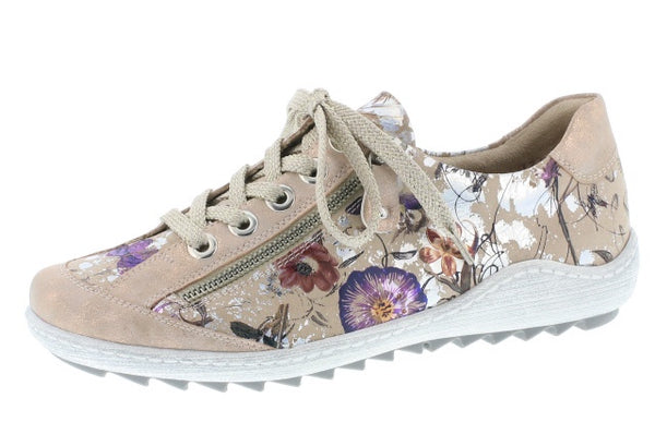 Remonte R1402-32 Pink Nude Floral Lace Up Trainers