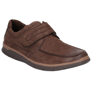 Hush Puppies Duke Mens Brown Leather Touch Fastening Shoes