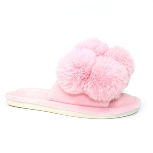 Lunar Octavia Ladies Pink Pom Pom Slippers