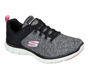 Skechers 149307 Flex Appeal 4.0 Black Pink Ladies Lace Up Trainers