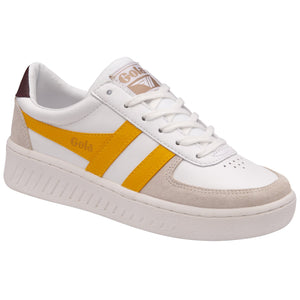 Gola Grandslam Classic Ladies White/Sun/Burgundy Leather Lace Up Trainers