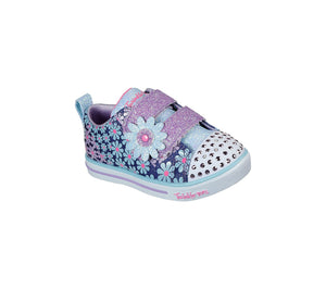 Skechers 314762N Sparkle Lite Mini Blooms Girls Denim Multi Rip-Tape Fastening Shoes