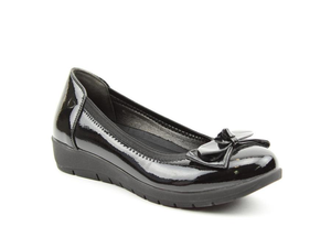Heavenly Feet Nina Ladies Black Patent Slip On Shoes