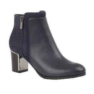 Lotus Athena Ladies Navy Heeled Ankle Boots