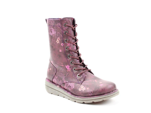 Heavenly Feet Martina Ladies Purple Floral Lace Up Boot