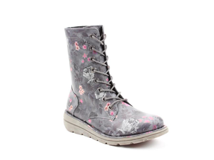 Heavenly Feet Martina Ladies Black Floral Lace Up Boot
