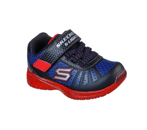 Skechers 401520N Illumi Brights Boys Black Red Blue Trainers