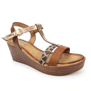 Lunar JLF 106 Kempton Ladies Brown Wedge Summer Sandals