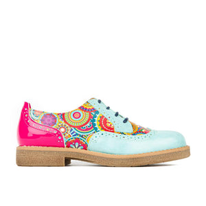 Shoe Embassy The Artist 77216 Ladies Light Blue and Pink Leather Lace Up Brogues