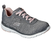 Skechers 88888400 Flex Appeal 3.0 Jer'see Ladies Grey And Light Pink Waterproof Lace Up Trainers