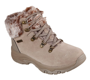 Skechers 167178 Trego Ladies Taupe Lace Up Warm Lined Ankle Boot