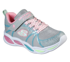 Skechers 302042L Shimmer Beams Sporty Glow Girls Grey Multi Rip-Tape Fastening Trainers