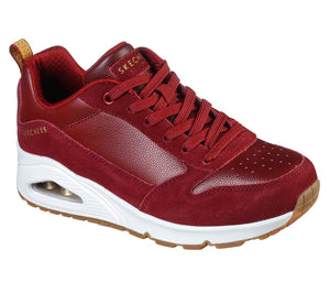 Skechers 155132 Uno Ladies Dark Red Lace Up Trainers