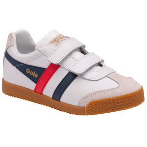 Gola Harrier Strap Childrens White, Navy and Red Leather Touch Fastening Trainers