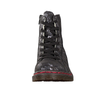 Rieker 76229-90 Ladies Black Metallic Lace Up Military Style Ankle Boots