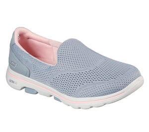 Skechers 124244 Go Walk 5 Ladies Grey and Light Pink Slip On Trainers