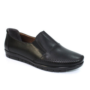 Lunar Lilly Ladies Black Leather Loafer Shoes
