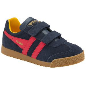 Gola Harrier Strap Childrens Navy Red Sun Suede Touch Fastening Trainers
