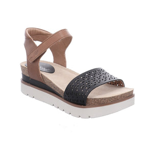 Josef Seibel Clea 09 Ladies 541 Jeans Kombi Brown Wedge Open Toe Sandals