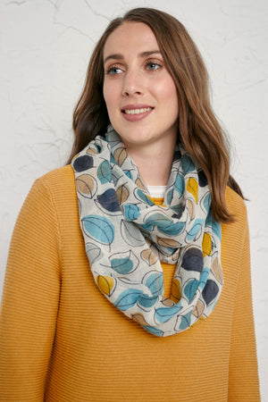 Seasalt Pretty Circle Scarf Leaf Lines Eden