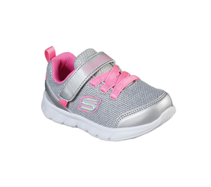 Skechers 302107N Comfy Flex Moving On Girls Silver Hot Pink Trainers