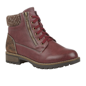 Lotus Emmeline Ladies Bordo Lace Up Ankle Boot