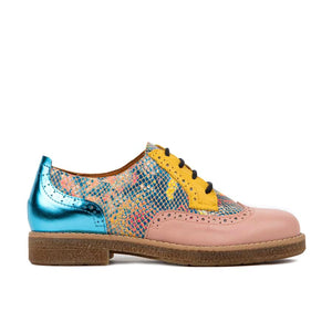 Shoe Embassy The Artist Ladies Pink and Yellow Leather Lace Up Brogues